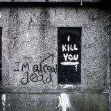 Ich töte Sie Graffiti stockfotografie