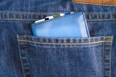 Ich verlor meinen Geldbeutel, ledernen Geldbeutel, Jeans Stockfotos