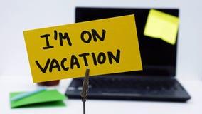 Ich werde im Urlaub geschrieben Stockbild