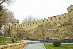Icheri Sheher in Baku. Azerbaijan . Gate of the old fortress, entrance to Baku old town. Baku, Azerbaijan. Walls of the Old City i Stock Photo