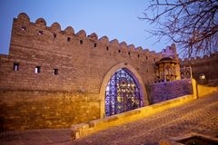 Icheri Sheher in Baku. Azerbaijan . Gate of the old fortress, entrance to night Baku old town. Baku, Azerbaijan. Walls of the Old. Icheri Sheher was included in stock images