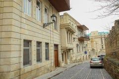 Icheri Sheher in Baku. Azerbaijan . Gate of the old fortress, entrance to Baku old town. Baku, Azerbaijan. Walls of the Old City i royalty free illustration