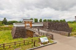 Ichimonji port av den huvudsakliga borggården av den Yamagata slotten, Japan Arkivfoton