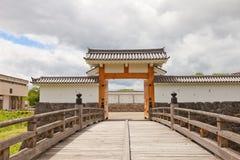Ichimonji port av den huvudsakliga borggården av den Yamagata slotten, Japan Arkivbild