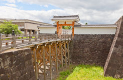 Ichimonji port av den huvudsakliga borggården av den Yamagata slotten, Japan Arkivfoto