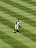 Ichiro Suzuki throws ball from the outfield Royalty Free Stock Photography