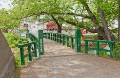 Ichiyo-bashi bro av den Hirosaki slotten, Hirosaki stad, Japan Royaltyfria Foton