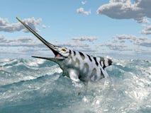 Ichthyosaur Eurhinosaurus in the stormy sea Stock Image
