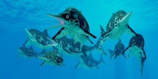 Ichthyosaur Hunting Group Royalty Free Stock Images