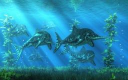 Ichthyosaurs royaltyfri illustrationer