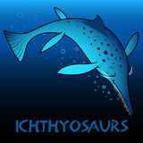 Ichthyosaurs cute character dinosaurs Stock Image