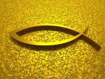ichthys 3D Gold auf goldenem Boden Lizenzfreies Stockfoto