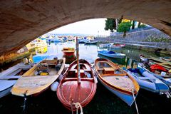 Icici village bridge and harbor in Opatija riviera view. Turquoise sea and blue sky, Kvarner, Croatia Royalty Free Stock Photos