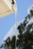 Icicle. Very long transparent icicle from the roof on a blue sky background stock photography