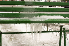 Icicle on a bench Stock Image