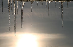 Icicle in blue sky Royalty Free Stock Photo