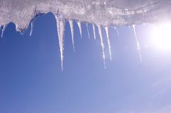Icicle and blue sky Royalty Free Stock Image