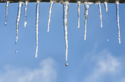 Icicle on blue sky Royalty Free Stock Images
