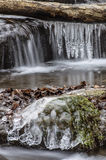 Icicle deep in the forest with waterfall Stock Photo