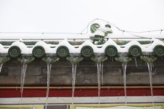 Icicle on eaves. Ices on Chinese traditional eaves, weather concept Stock Image