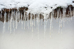 icicle hanging down from roof Royalty Free Stock Photos