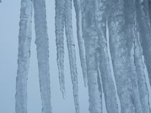 Icicle with grey sky. Icicles with a grey sky as background stock photography