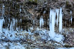 Icicle over a creek Ice Sickles. Icicle over a creek wintertime in missouri beautiful ice sickles stock image