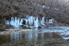 Icicle over a creek Ice Sickles. Icicle over a creek wintertime in missouri beautiful ice sickles stock photo