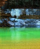 Icicle Over An Emerald Pool Royalty Free Stock Images