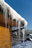 Icicle on the roof Royalty Free Stock Image