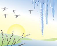 Icicle_snow_sun. Spring is coming. Vector illustration Royalty Free Stock Images
