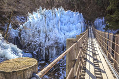 Icicle and suspension bridge Royalty Free Stock Images