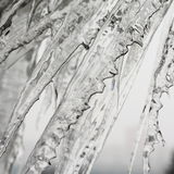 Icicles. Group of frozen icicles hanging diagonally Stock Photo