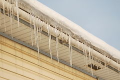 Icicles. Picture of a icicles on a roof of a house stock image