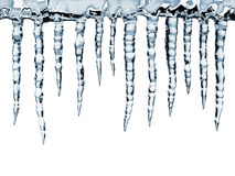 Icicles. Close-up, isolated on white Stock Images