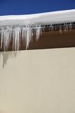 Icicles. Hanging from the roof Royalty Free Stock Photos