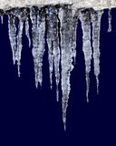 Icicles. In a cold blue row Stock Images