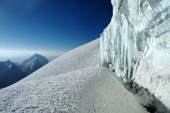 Icicles. In crevasse high in Fann mountains Stock Photography