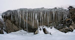 Icicles. Of frozen water stock photo