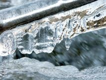 Icicles above forest stream Stock Photo