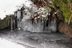 Icicles above water Royalty Free Stock Images