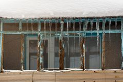 Icicles above the window Stock Image