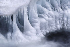 Icicles abstract. Icicles and rapids blending together and creating a typical winter abstract Stock Images
