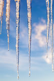 Icicles against a blue sky with clouds at sunset Stock Photos