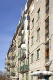 Icicles on balconies. General plan Stock Image