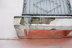 Icicles on balcony Stock Image