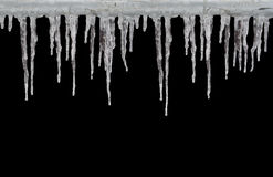 Icicles on black Stock Images