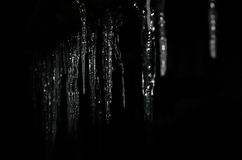 Icicles. Bright icicles in a backlight and dark Stock Photo