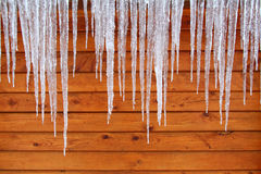 Icicles on a Cabin. Long Icicles hang on a cabin in Illinois Stock Photos