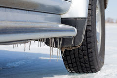 Icicles on car Royalty Free Stock Image